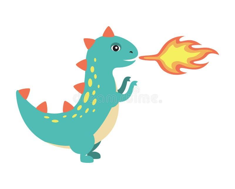 Dinosaurus die Brand tot Beeld maken Vectorillustratie stock illustratie