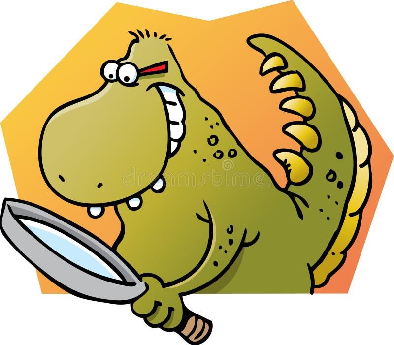 Dinosaurus die een vergrootglas houdt stock illustratie