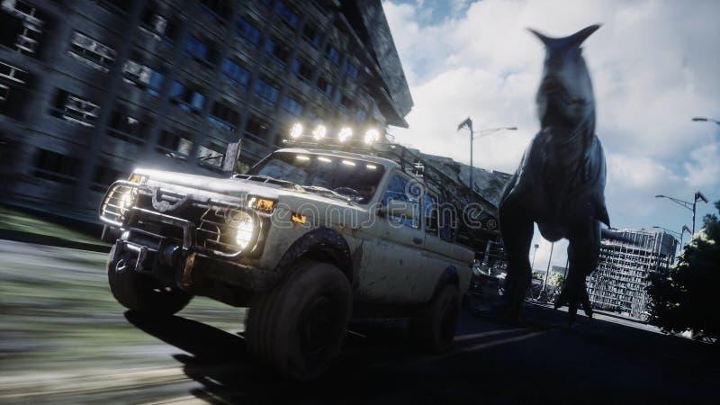 Dinosaurus die rex achter de auto in vernietigde stad lopen Dinosaurussenapocalyps Concept toekomst het 3d teruggeven vector illustratie