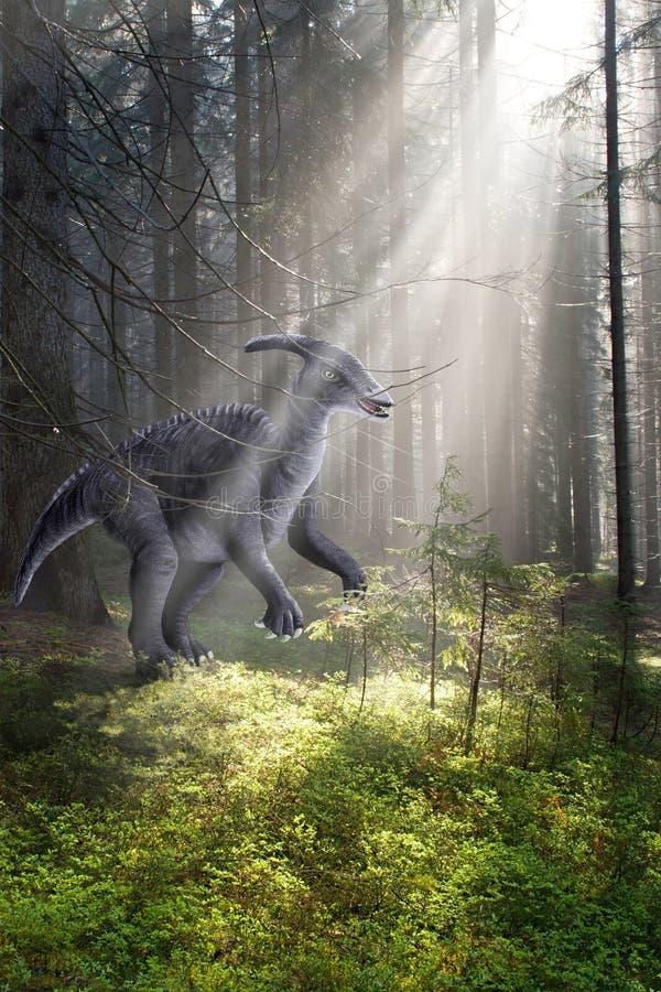 Dinosaurus in het bos royalty-vrije stock afbeelding