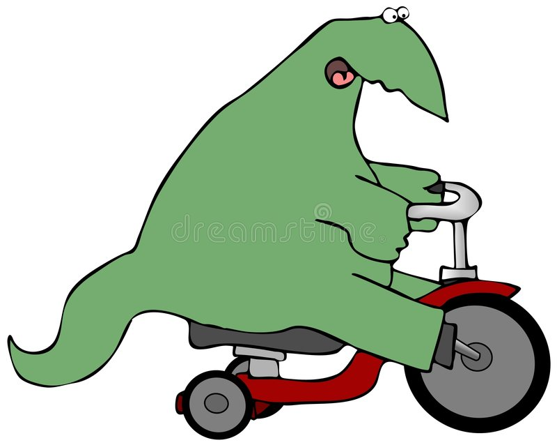 Dinosaurus op een Trike royalty-vrije illustratie