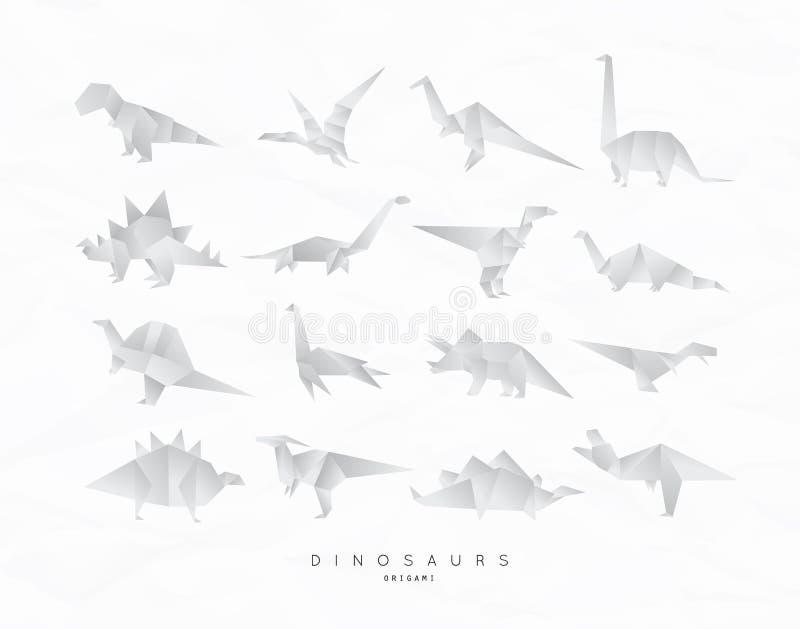 Dinosaurus origami set. Set of dinosaurs in flat origami style tyrannosaurus, pterodactyl, barosaurus, stegosaurus, deinonychus, euoplocephalus, triceratops vector illustration