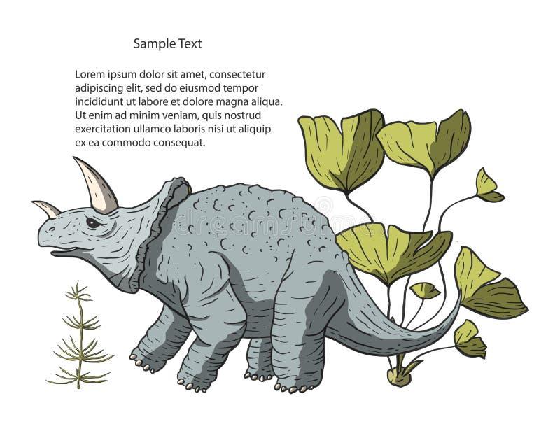 Dinosaurus triceratops in zijn habitat vector illustratie