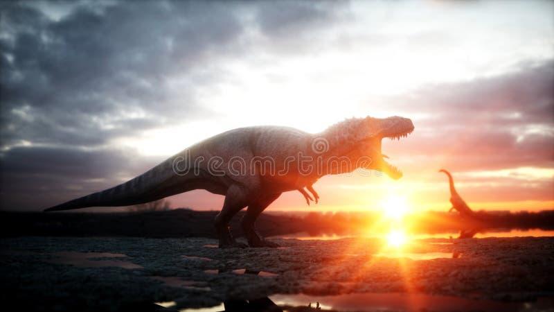 dinosaurus Voorhistorische periode, rotsachtig landschap Wonderfullzonsopgang het 3d teruggeven royalty-vrije illustratie