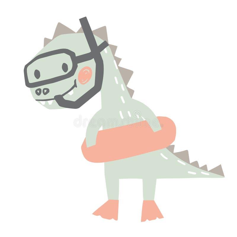 Dinosaurusbaby met rubberrings leuke druk Het zoete gaande snorkelen van Dino royalty-vrije illustratie