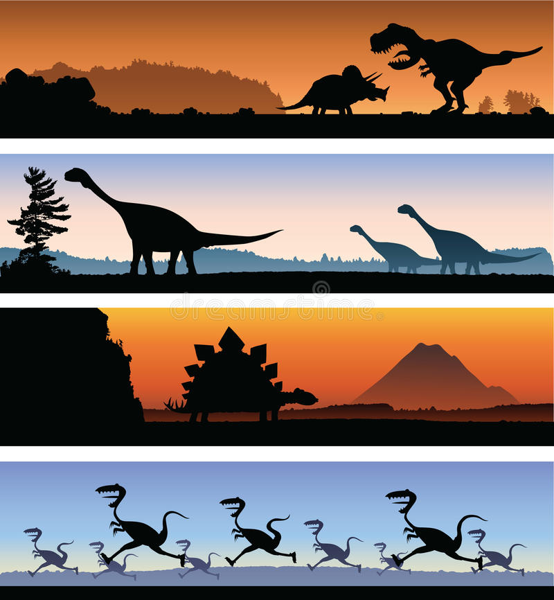 Dinosaurusbanners royalty-vrije illustratie