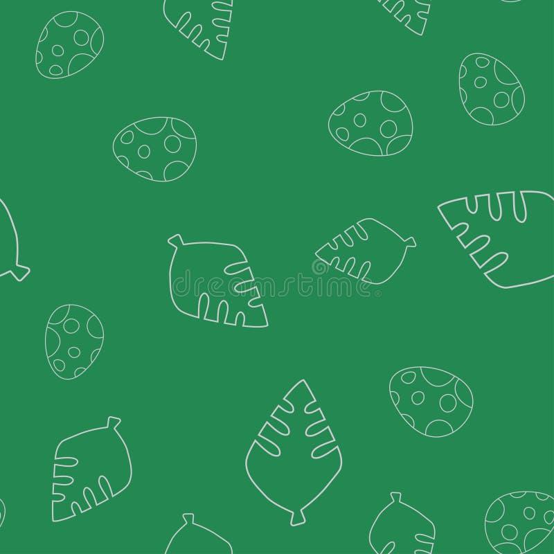 Dinosaurusei en het naadloze patroon van de bladboom stock illustratie