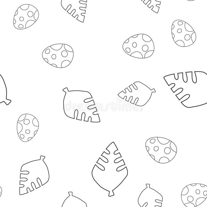 Dinosaurusei en het naadloze patroon van de bladboom royalty-vrije illustratie
