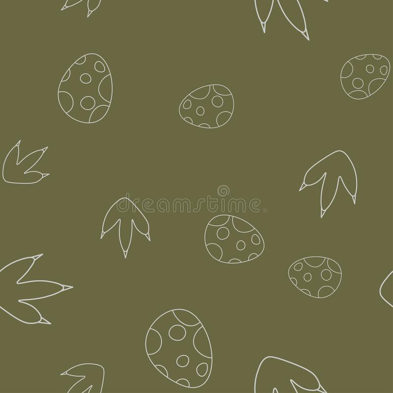 Dinosaurusei en voetafdruk naadloos patroon vector illustratie