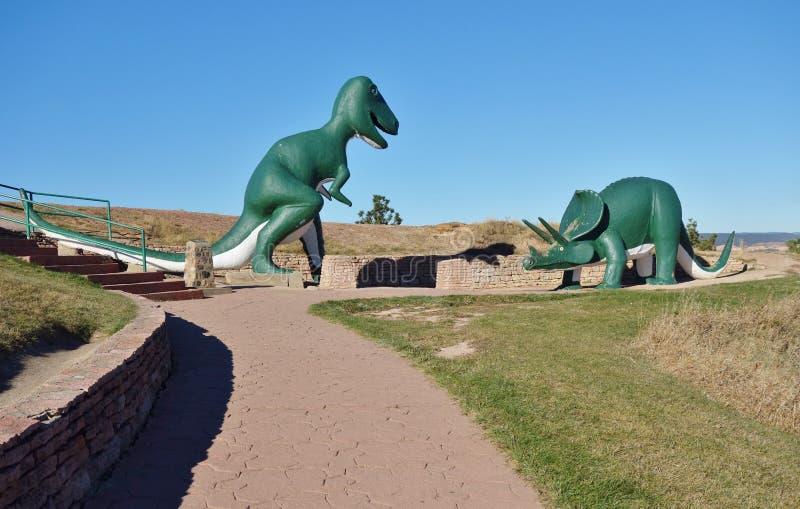 Dinosauruspark in Snelle Stad, Zuid-Dakota stock foto's