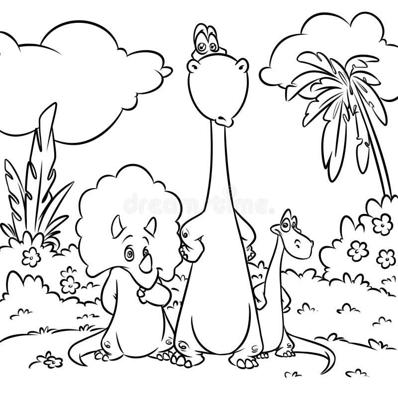 Dinosaurussen die de illustratie van het Pagina'sbeeldverhaal kleuren stock illustratie