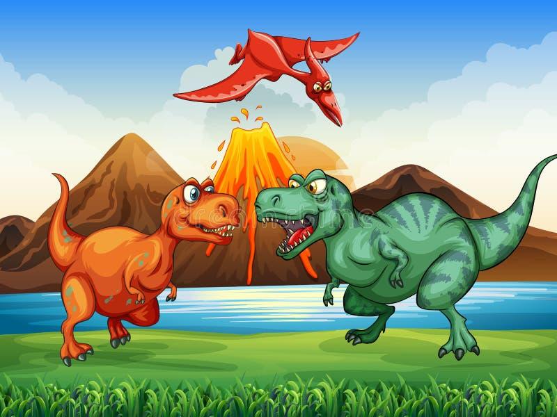 Dinosaurussen die op het gebied vechten stock illustratie