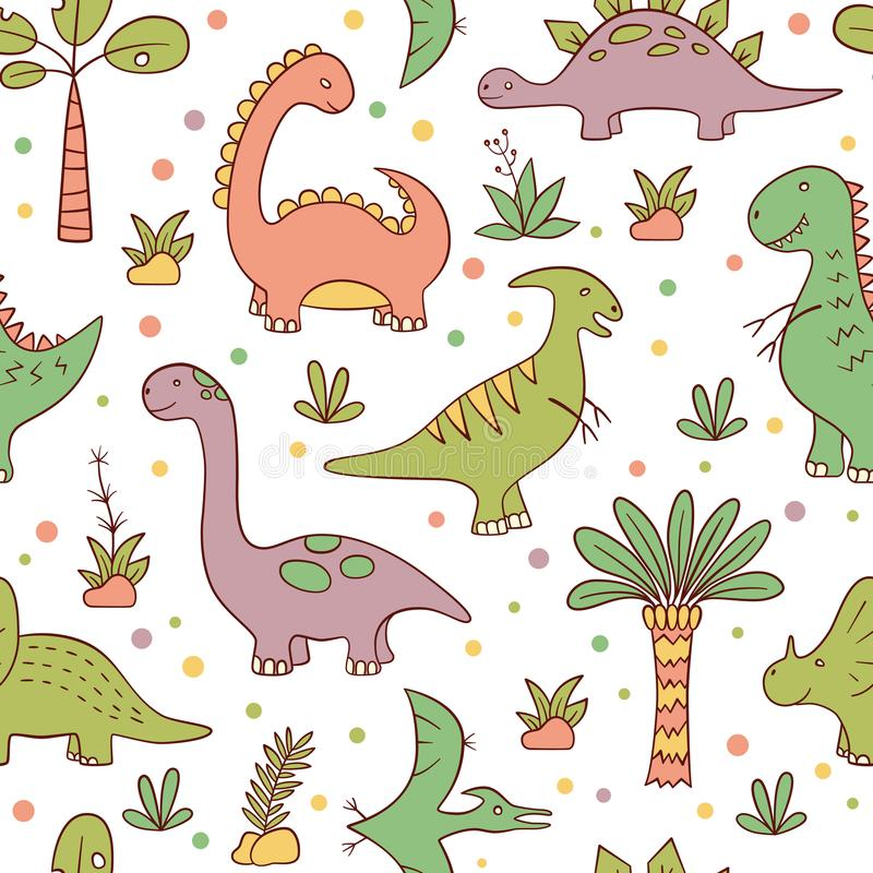 Dinosaurussen en voorhistorische installaties Vector naadloos patroon in krabbel en beeldverhaalstijl vector illustratie