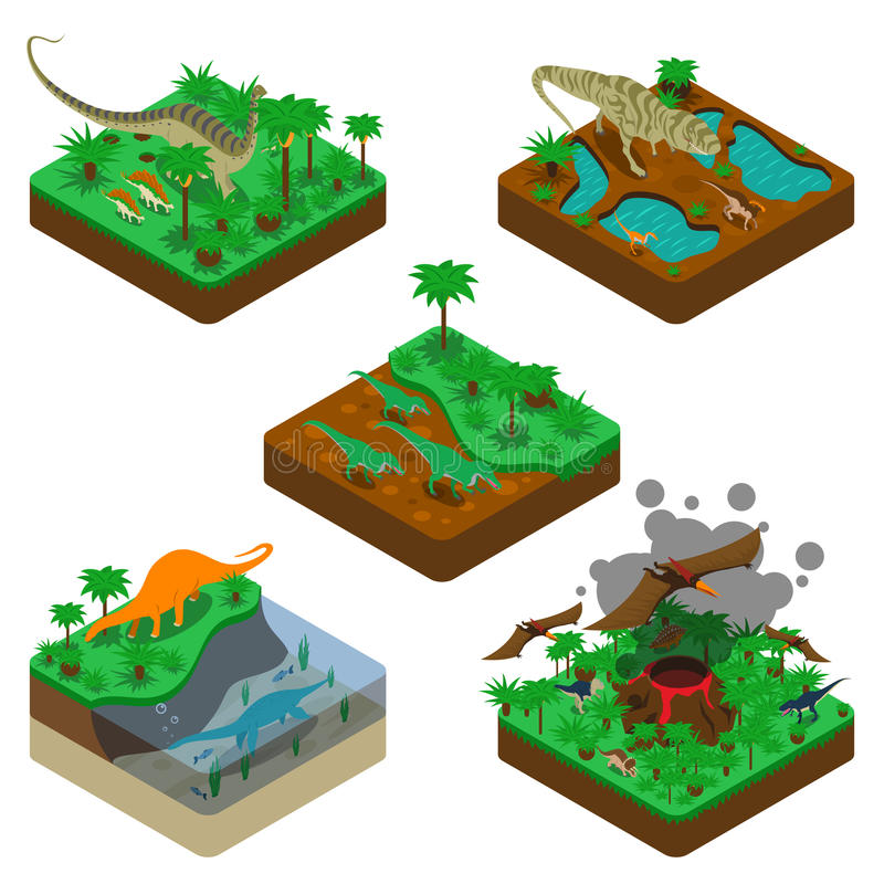 Dinosaurussen Isometrische Samenstellingen stock illustratie