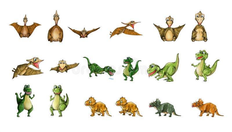 Dinosaurusseninzameling - t-Rex, Pterodactylus, Triceratops royalty-vrije illustratie