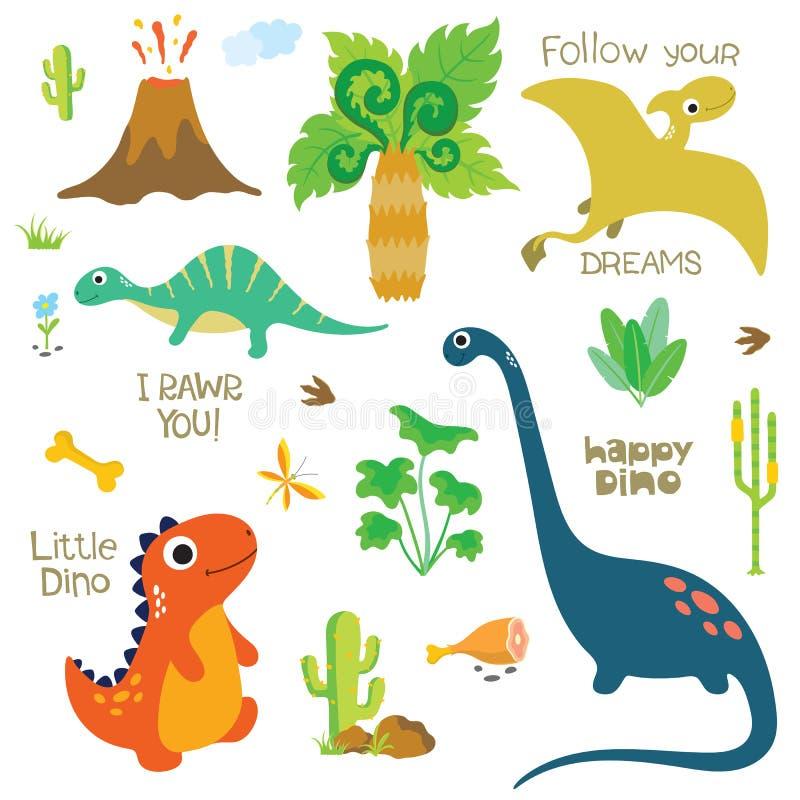 Dinosaurusvoetafdruk, Vulkaan, Palm en andere ontwerpelementen stock illustratie