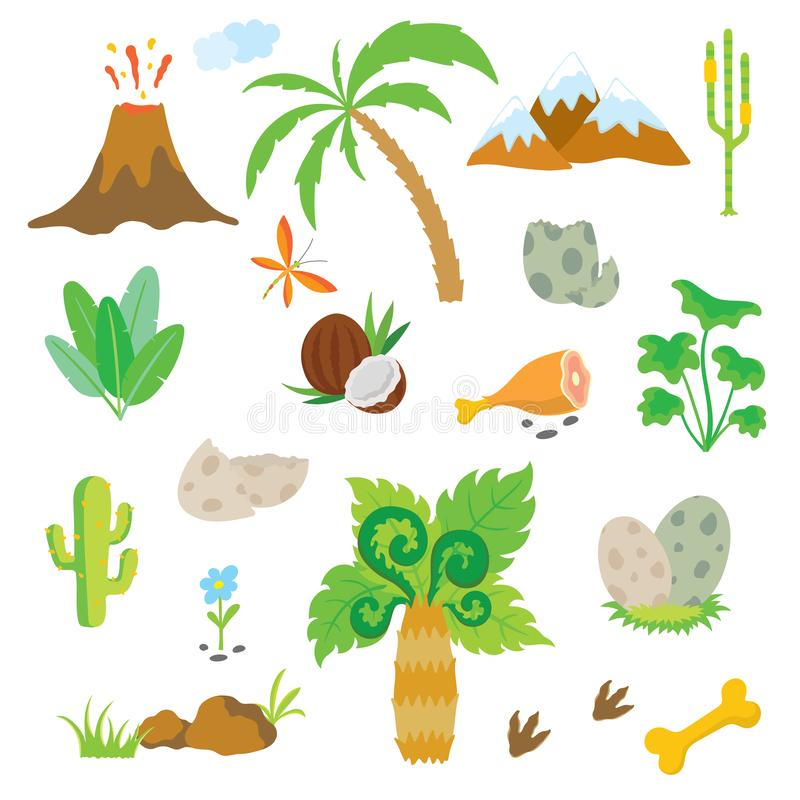 Dinosaurusvoetafdruk, Vulkaan, Palm en andere ontwerpelementen vector illustratie