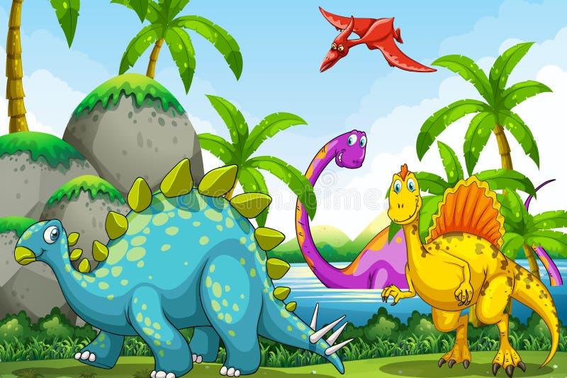 Dinosaury żyje w dżungli ilustracja wektor