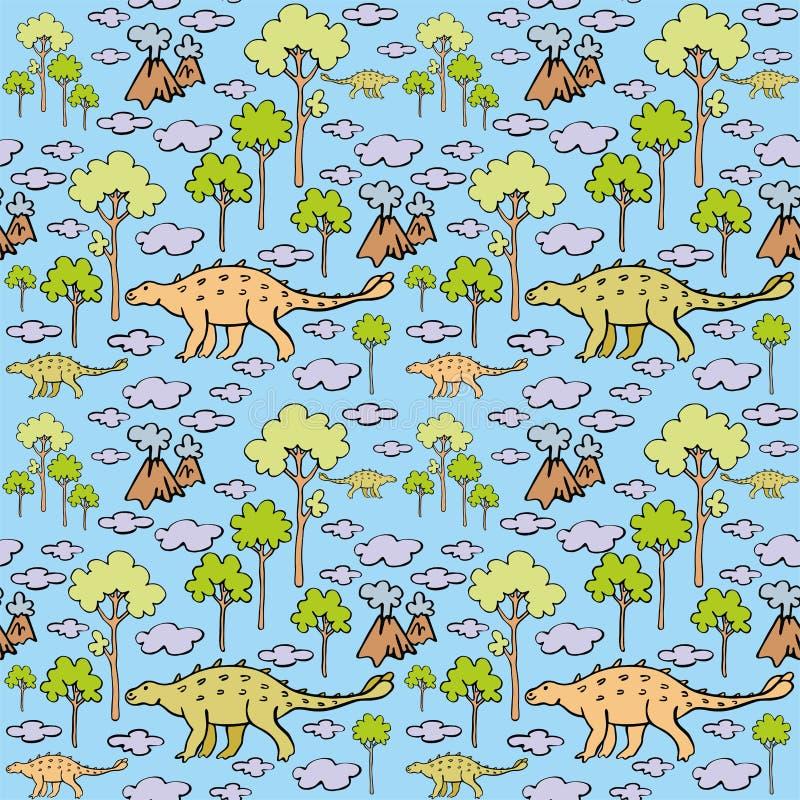 Dinosaury i chmury ilustracji