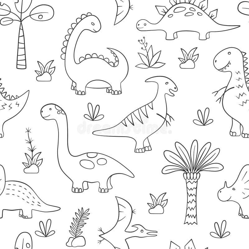 Dinosaury i prehistoryczne rośliny Wektorowy bezszwowy wzór w doodle i kreskówka projektujemy royalty ilustracja