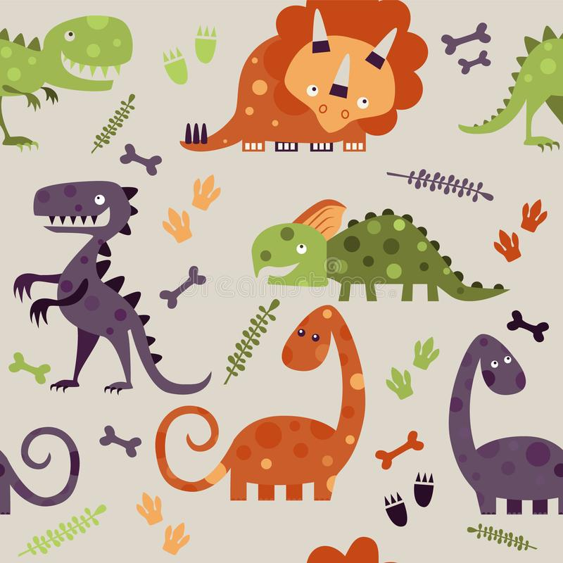 Dinosaury ko?ci, li?cie i odciski stopi, royalty ilustracja