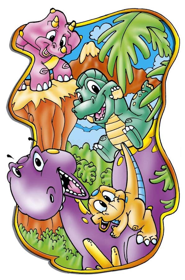 Download Dinosaury śmieszni ilustracji. Obraz złożonej z kreskówki - 7175032