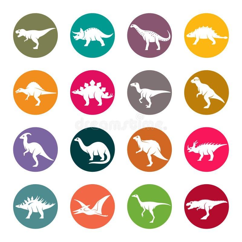 Dinosaury okrążają colourful wektorowego ikona set ilustracji