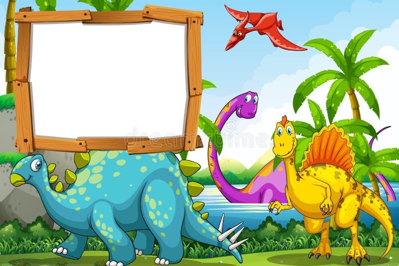 Dinosaury przy jeziorem ilustracji