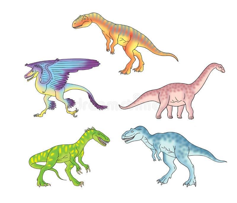 Dinosaury ustawiają 2 ilustracji