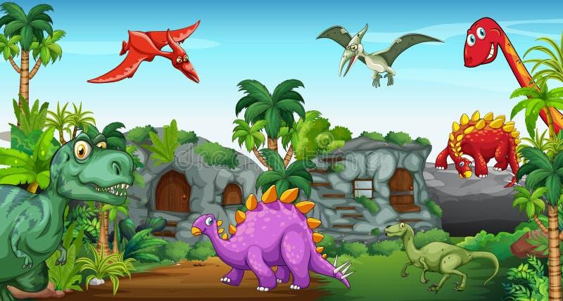 Dinosaury w parku ilustracji