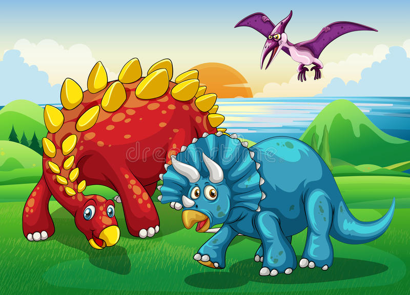Dinosaury w parku royalty ilustracja