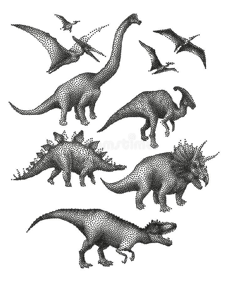 Dinosaury w stippling technikę ilustracji