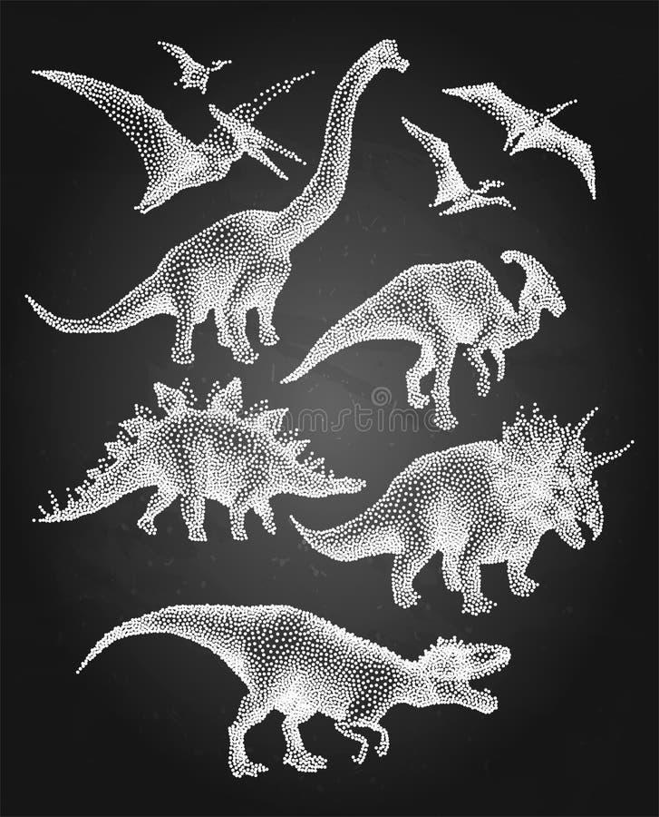 Dinosaury w stippling technikę ilustracja wektor