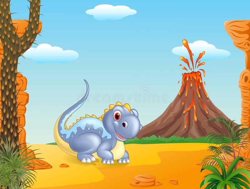 Download Dinossauro Adorável Que Senta-se Com Fundo Do Vulcão Ilustração do Vetor - Ilustração de criatura, cartoon: 65581594