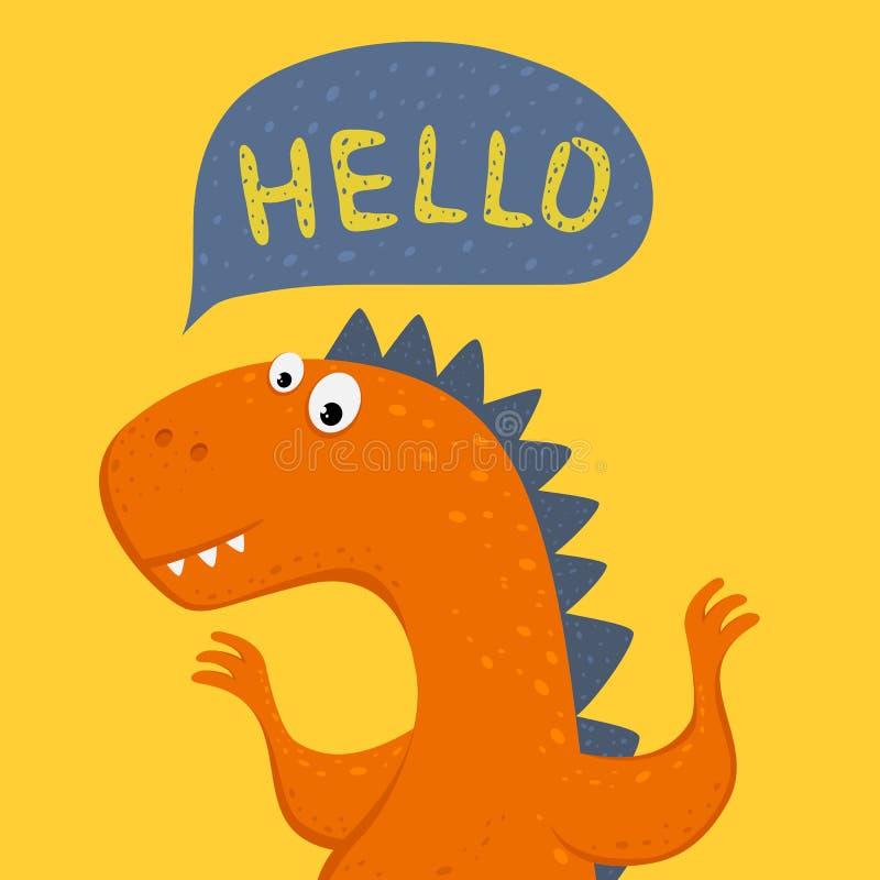 Dinossauro alaranjado no fundo amarelo ilustração royalty free