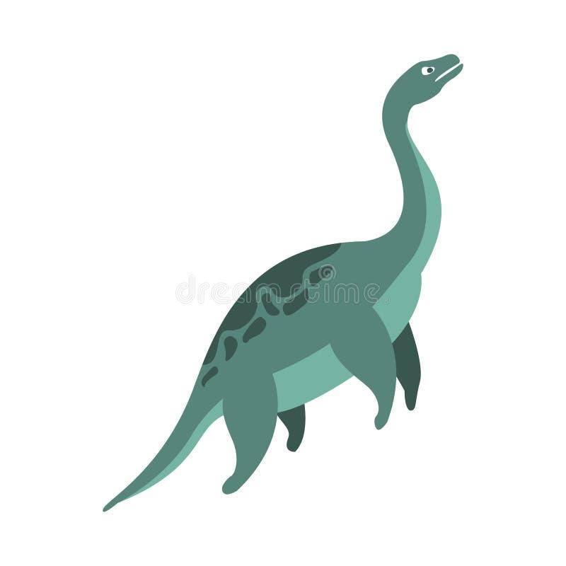 Dinossauro aquático do período jurássico, animal realístico do Elasmosaurus dos desenhos animados gigantes extintos pré-histórico ilustração do vetor