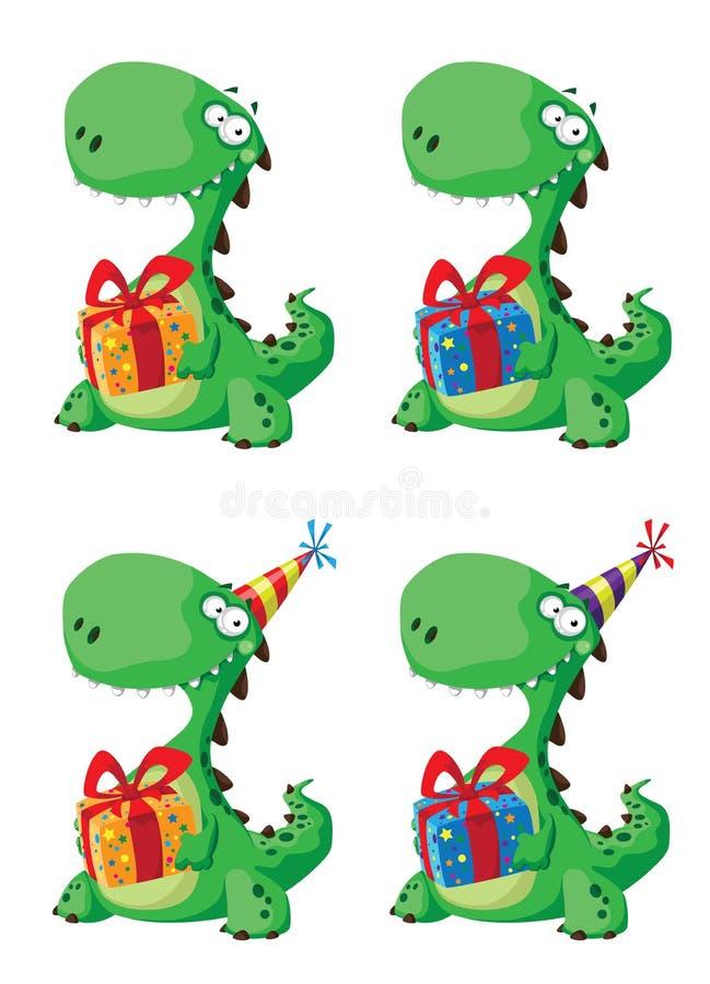 Dinossauro bonito com um jogo do presente ilustração stock