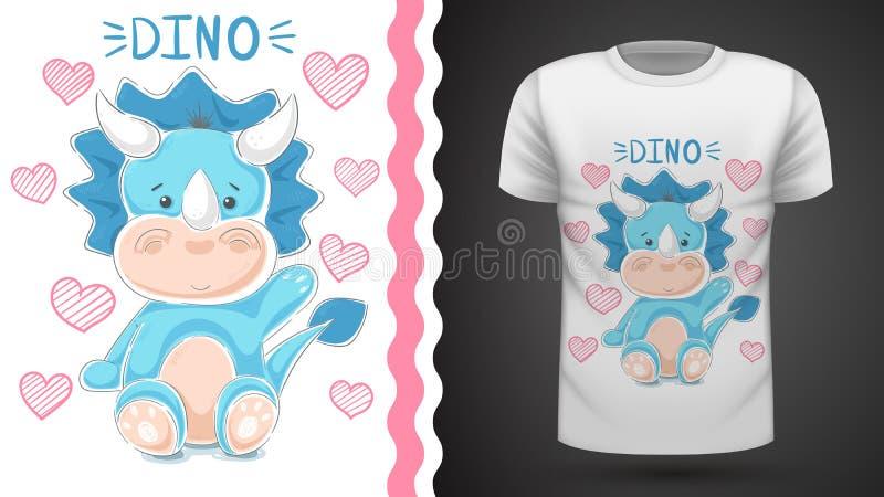 Dinossauro bonito da peluche - ideia para o t-shirt da c?pia ilustração royalty free