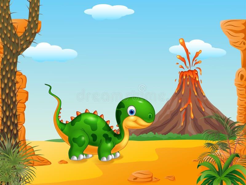 Download Dinossauro Bonito Do Bebê Que Levanta No Fundo Do Deserto Ilustração do Vetor - Ilustração de cute, enorme: 65581607