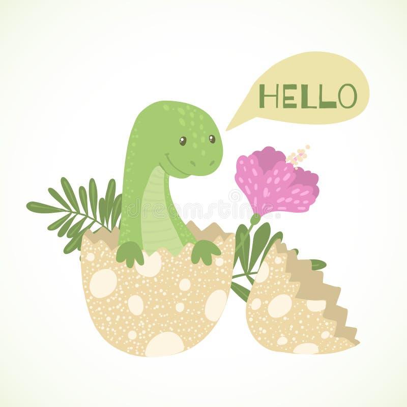 Dinossauro bonito do beb? dos desenhos animados que choca do ovo ilustração stock