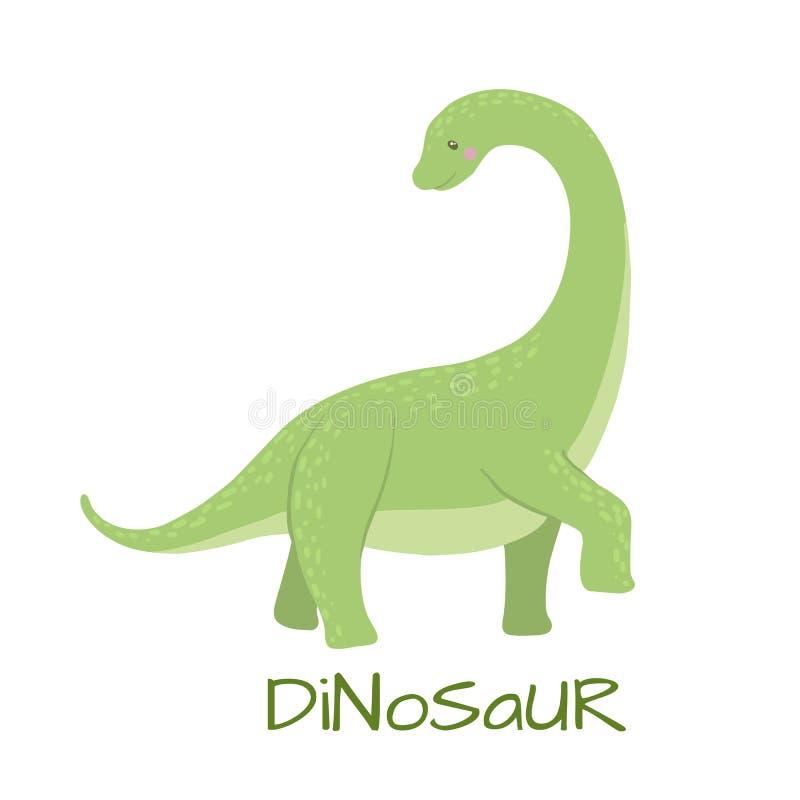 Dinossauro bonito do brontosaurus do bebê isolado no branco ilustração stock
