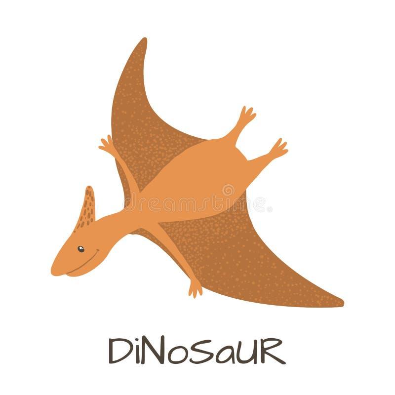 Dinossauro bonito do pterod?tilo do beb? isolado no branco ilustração royalty free