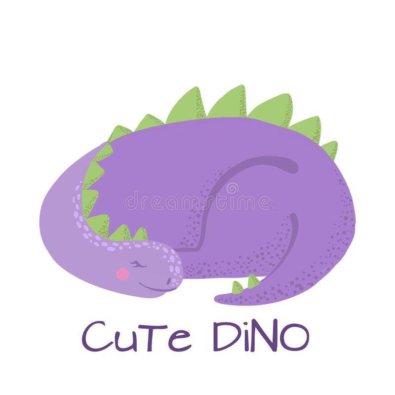 Dinossauro bonito do sono do bebê isolado no branco ilustração stock