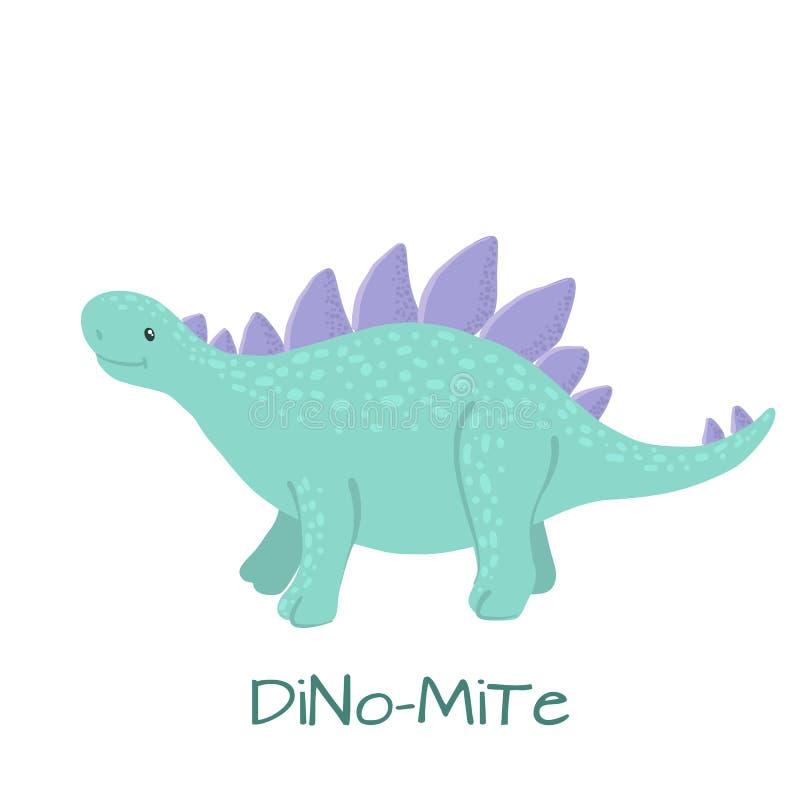 Dinossauro bonito do stegosaurus do bebê isolado no branco ilustração royalty free