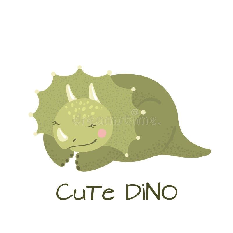 Dinossauro bonito do triceratops do beb? isolado no branco ilustração royalty free