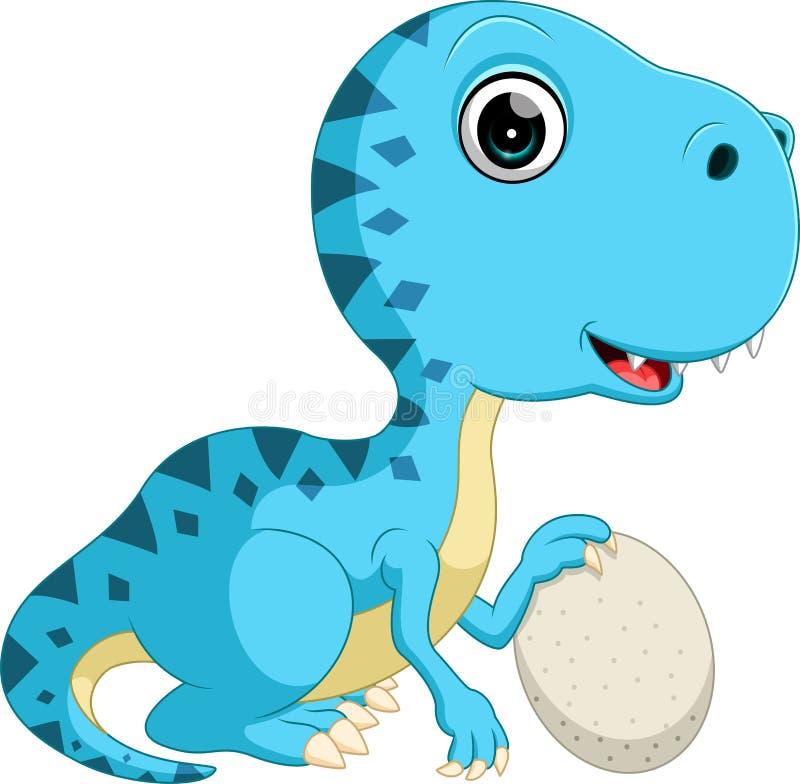 Dinossauro bonito que guarda o ovo ilustração royalty free