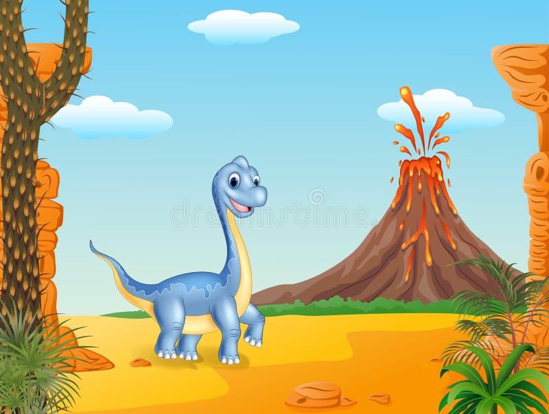 Download Dinossauro Bonito Que Levanta Com O Fundo Pré-histórico Ilustração do Vetor - Ilustração de paisagem, cartoon: 65581561