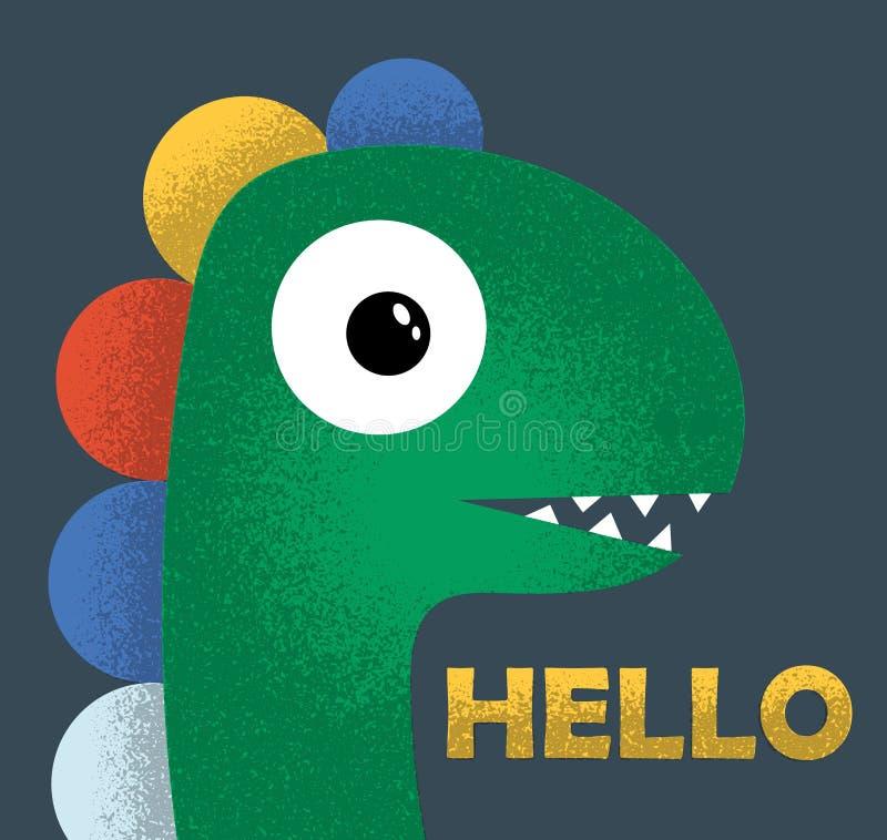 Dinossauro bonito tirado como o vetor com textura do grunge para a forma das crianças T-shirt bonito do dinossauro Menino de Dino ilustração do vetor