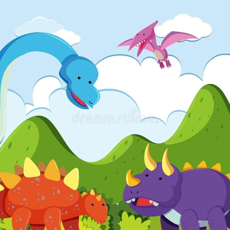 Dinossauro cercado com natureza bonita ilustração do vetor