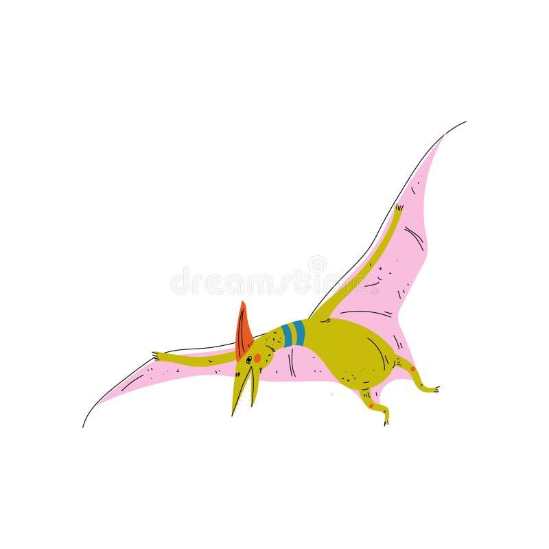 Dinossauro colorido de Pterosaur, ilustração animal pré-histórica bonito do vetor ilustração stock